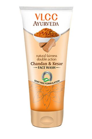 VLCC Ayurveda Natural Fairness Double Action Chandan & Kesar Face wash 100ml (Pack of 2 X 50ml)(Ship from India)