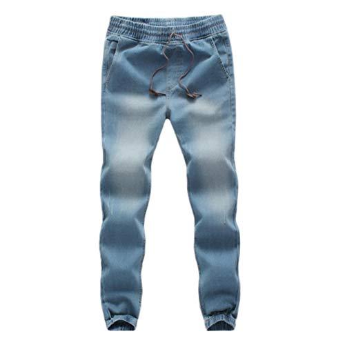 TEBAISE Herren Jogg Stoffhose Jogger Chino Hose Jeans Haremshose Denim Baggy Pants-Bund und Saum mit Gummizug(Hell blau,XL)