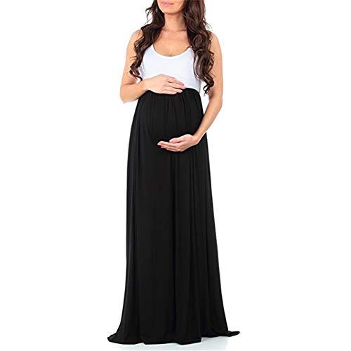 FEIFUSHIDIAN Capuche Femme Couleur Unie Couture Col Rond Manches Robe Salopette Mis sur Une Grande Femme Enceinte Bloquer Pull-up ( Color : Black , Size : L )