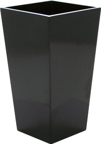 Vaso Alto Quadro Polystone/Laccato - colore Nero Cm.57 h. (35x35 cm) (totalmente aperto)