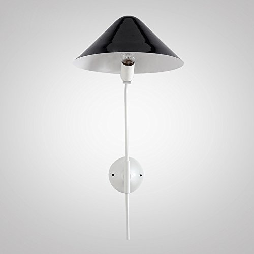 Wvfguj Home wandlamp Iron Wandlamp Nordic Postmodern Stijl verlichtingsarmatuur Woonkamer Slaapkamer Restaurant Aisle Single Head Muur Light E27 (zonder Bulb) Wall Lamp (Color : Black)