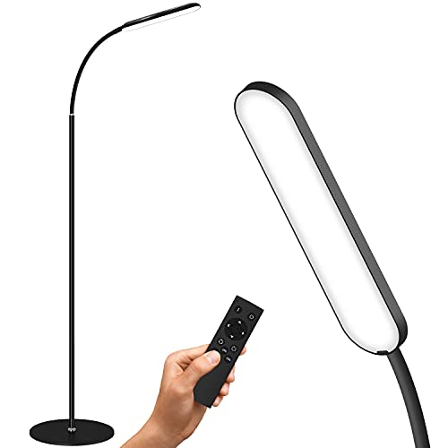 GSBLUNIE Led Floor Lamp, Dimmable Standing lamp with 3 Color Temperature, Modern Floor Lamps with Remote and Touch Control, Adjustable Gooseneck Reading Lamp for Office, Bedroom, Living Room, Black