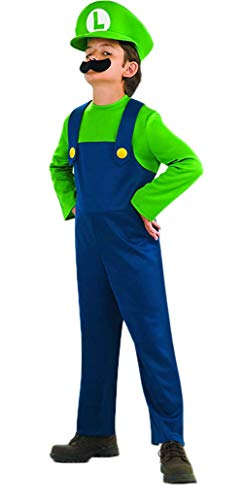 Price comparison product image Riekinc Super Costume Kids Brothers Classic Halloween Cosplay Costume Kids X-Large Green / Blue