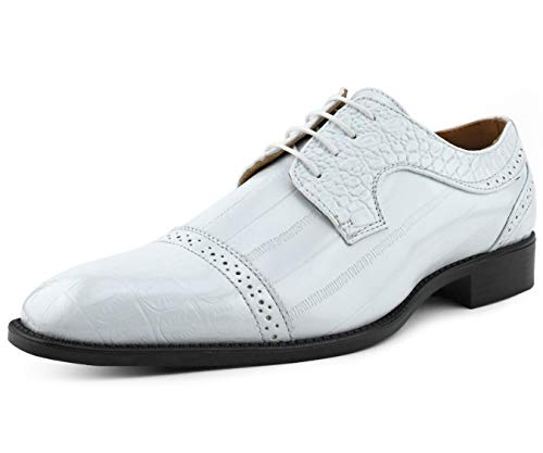 Bolano Dallas - Mens Croco Cap Toe Oxford, Alligator Print EEL Skin Trim, Lace Up - Original Style - Mens Oxfords - Designer Shoes - Color: White, Size: 8.5