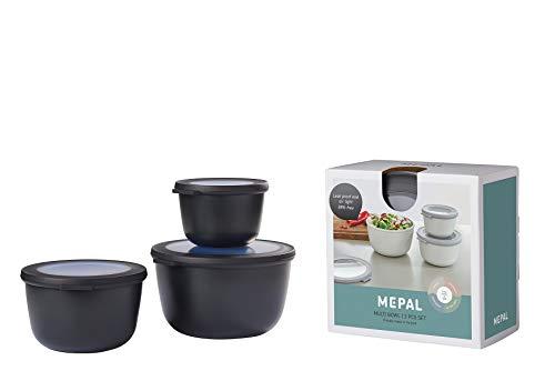 Mepal Multischüssel-Set Cirqula 3-teilig – Nordic Black – hoch und rund –Inhalt: 500, 1000, 2000 ml – bruchfestes Material - auslaufsicher – tiefkühlgeeignet - spülmaschinengeeignet