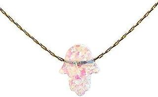 White Opal Hamsa mano Collana 14k Gold Filled Lunghezza 41 cm / 16 pollici + 5 cm Extender