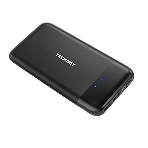 TECKNET Batería Externa 10000 Mah Power Bank Cargador Móvil Portátil con 2 Salidas USB, Compatible con iPhone iPad Samsung Dispositivos Android Tablets y Más, Negro