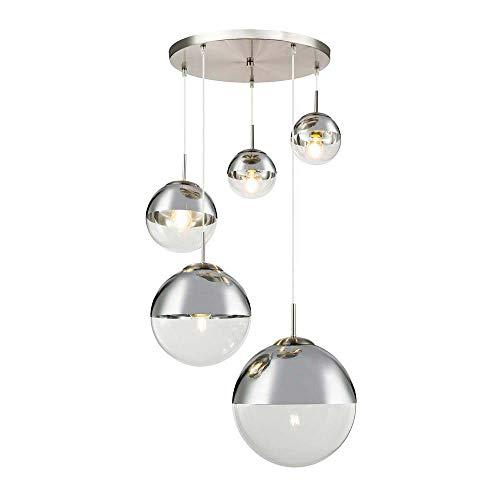Design Decken Pendel Leuchte Glas Kugel Strahler chrom Wohn Zimmer Hänge Lampe klar Globo 15851-5