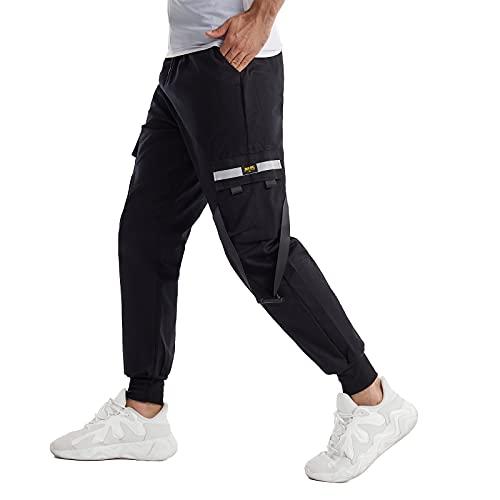 Hombres Pantalones de Carga,Pantalón Cargo Casuales,Pantalones de Hip Hop,Pantalones de Combate Holgados, Pantalone de Trabajo,Pants Sueltos Ocasionales (Negro Plus, 2XL)