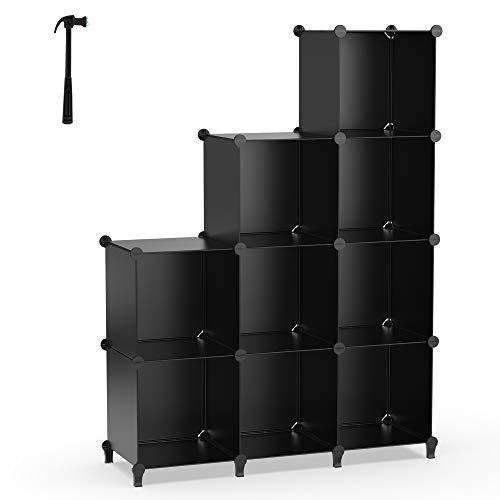 HOMIDEC 9-Cube Regalsystem, Aufbewahrungsregal Bücherregal mit Hammer, Aufbewahrungswürfel Organizer Schrank für Kinder, Schrank, Schlafzimmer, Badezimmer(schwarz)