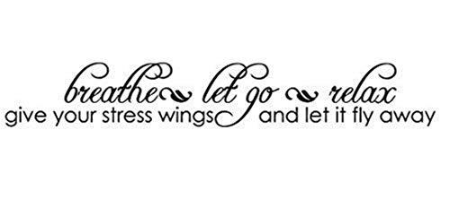 Wandtattoo Kinderzimmer Wandaufkleber Schlafzimmer Atmen Lass Los Entspannen Gib deinem Stress Flügel S und lass es wegfliegen