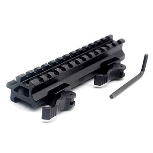TRIROCK See-Through Throw Lever Riser Mount Picatinny Riser Mount with 13 Slots Double Rails Quick Release Detachable fits Scope Optics