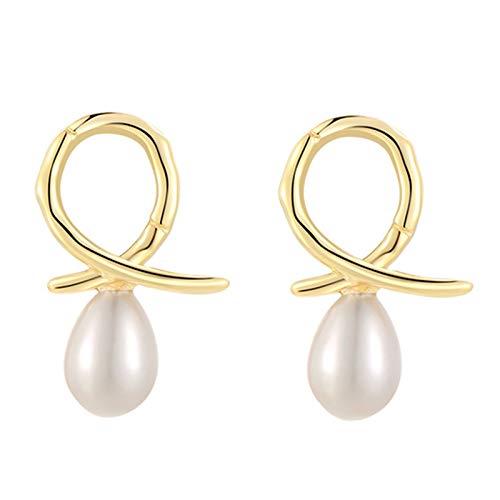 Heizung Pearl Earrings Shell Beads Cross-line Knotted Earrings S925 Silver Hypoallergenic Women's Jewelry