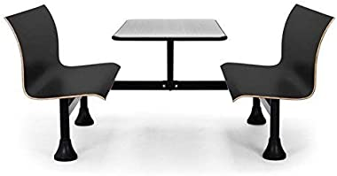 "OFM Core Collection Retro Bench Table with End Support, 24"" Stainless Steel Top, with Black Seats (1006W-BLK)"