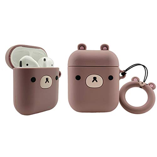 MOLOVA Case for Airpods 1&2 Case,Silicone 3D Cute Funny Cool Cartoon Character Kawaii Airpods Cover Shock Proof Compatiable with Wireless Charging Case with Ring Rope Keychain(Brown Bear)