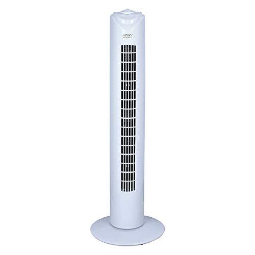 urban society 32' Ventilador de Torre Digital 3 Velocidades 3 Modos Silencioso Motor de Aluminio de 7114 mm, 45W, Base Estable, Cable de 2x0.5mm2x1.7m Con Enchufe Redondo VDE 2 - Blanco (32')
