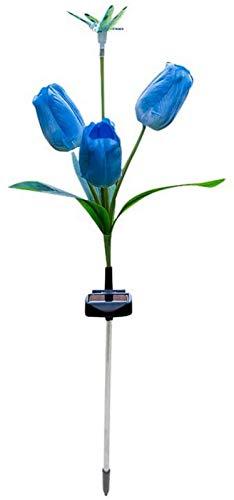 r Solar Light 4Led Kolorowy kwiat tulipana Panel słoneczny Wodoodporna lampa trawnikowa do kanału ogrodowego Dziedziniec Niebieski