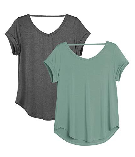 icyzone Damen 2er Pack Rückenfrei Yoga T-Shirt Kurzarm Sport Freizeit Tops Lose lässiges V-Ausschnitt Shirt (L, Dunkelgrau/Grau-grün)