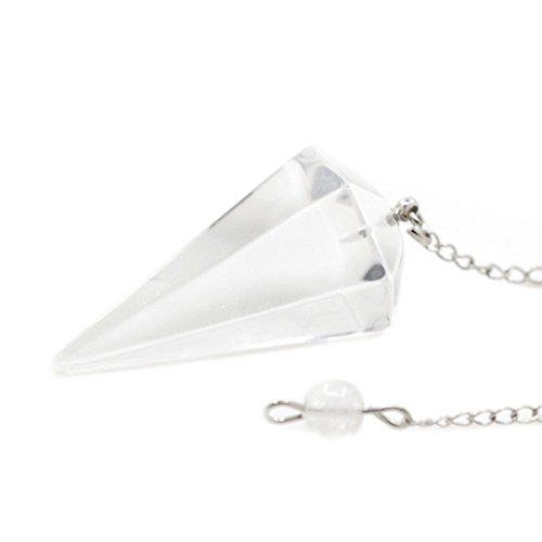 Natural Clear Quartz Gemstone Rock Crystal Hexagonal Pointed Reiki Chakra Pendant Pendulum