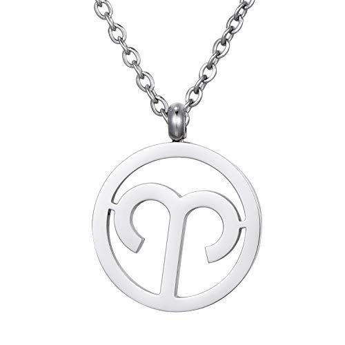 Morella Collar Acero Inoxidable Plata con Colgante Signo del Zodiaco Aries en Bolsa de Terciopelo