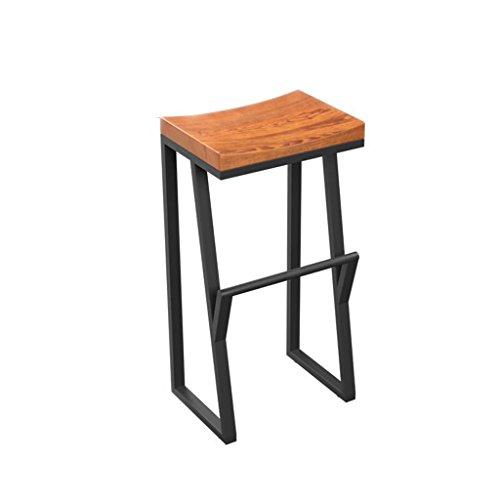 NMDB Vintage antiker Küchenbarhocker, schwarzer Rahmen und Industriestil aus massivem Holz (größe : 38 * 36 * 63CM)
