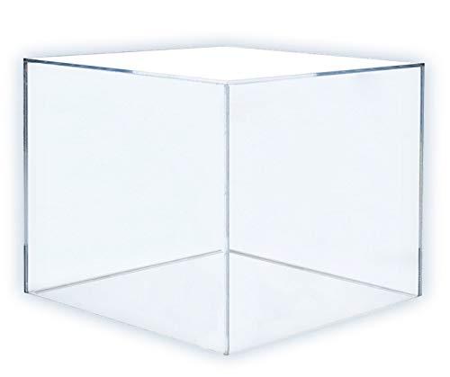 HOKU Holzhäuser Kunststofftechnik Acryl-kubus in der Grösse : 20cm x 20cm x 20cm Box, Acryl/Plexiglas, 5 transparente Seiten, klar (20 x 20 x 20cm)