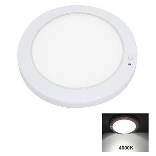 Faxon 12.5cm 12V Panel de luz LED Luz de Techo Interior de Pared de Techo con atenuador e indicador de Encendido/Apagado para Autocaravana, Caravana, Barco, Remolque, Marino (4000K)