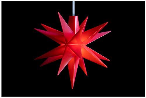 Novaliv Weihnachtsstern 3D LED Rot 8 cm 18 Zacker Kunststoffstern Dekostern Fensterdeko Weihnachtsdeko Innen Stern beleuchtet