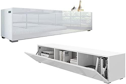 PLATAN ROOM Meuble TV bas 140 cm - Blanc mat / blanc brillant