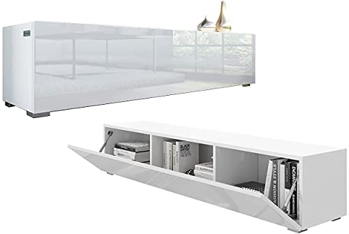 PLATAN ROOM TV Lowboard 140 cm Hängeboard Hochglanz Board Schrank Wohnwand weiß (Weiß matt/Weiß...