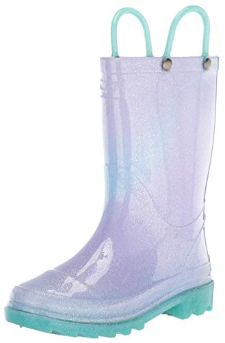 Western Chief Girls Waterproof Rain Boots That Light Up with Each Step, Glitter Ombre, 1 Little Kid