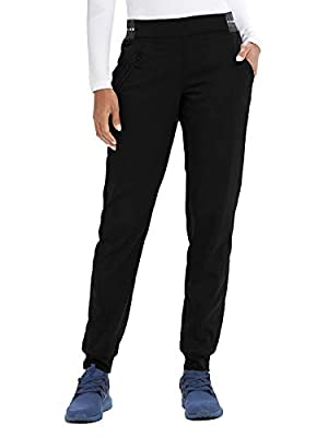 Grey's Anatomy Active GVSP512 3 Pocket Logo Knit Waist Jogger Scrub Pant Black/White/White Stripe MT