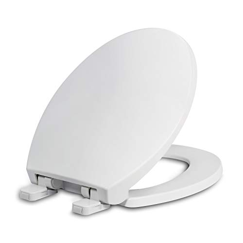 Round Toilet Seat with Lid, Slow Close Seat and Cover, Including Two Sets of Parts, Fit All Standard Round Toilet, Quiet Close, Plastic, White