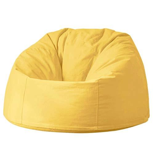 Dsrgwe Puff Volver BeanBag Alta Sofá reclinable, Resistente al Agua, Bolsas de Frijoles for el Juego Silla y Silla de jardín - 90cm (Color : Yellow)