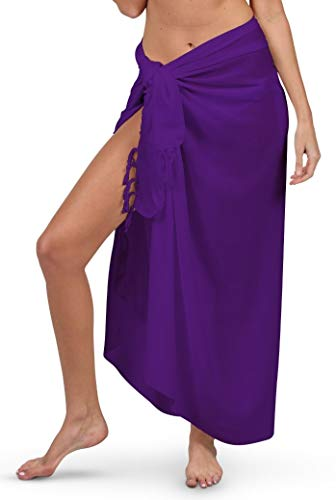 INGEAR Sarong Wraps for Women Bathing Suit Wrap with Coconut Shell Included Sarongs for The Beach (Purple)