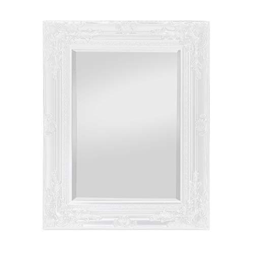 Specchio in Stile Shabby Chic - Bianco Antico - 42x53 cm - Legno Massello - Fatto a Mano - Barocco - Rococo