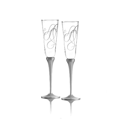 Mikasa Love Story Crystal Champagne Flutes, Set of 2