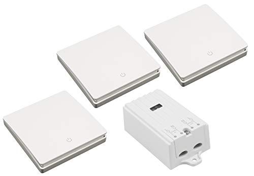 MC POWER 1535166 Lot de 3 interrupteurs sans fil Kinetic avec récepteur et 3 boutons muraux