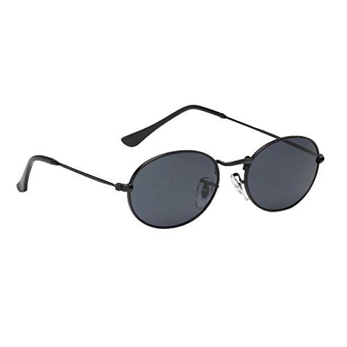 Runde Retro Lennon Sonnenbrille Vintage Polarisierte Linsen Rundbrille Hippi Brille Nickelbrille Dekobrille - Schwarzer Rahmen Schwarz Graue Linse