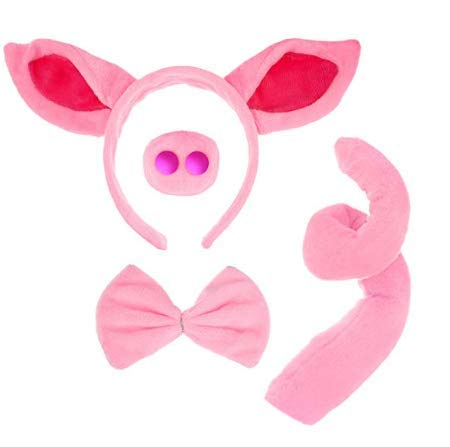 COOLOOK Pig Costume Set Pig Ears Headband Pig Tail Nose Bow Tie Pig for Party Decoration Pink