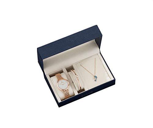 Reloj De Cuarzo para Mujer Y Combinación De Collar + Pulsera Oro Rosa