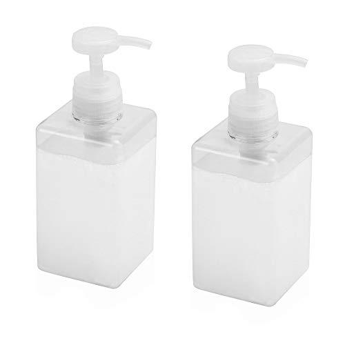 Dispensador de jabón - Juego de 2 | Botella recargable de 450 ml | Dispensador de champú y acondicionador | Botella para jabón líquido | Dispensadores cuadrados | Pukkr