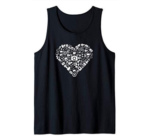 Símbolos de cámara con corazón - fotografía Camiseta sin Mangas