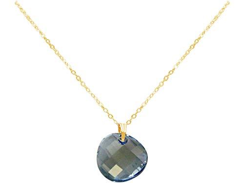 Gemshine TWIST Halskette Aquamarin Blue Anhänger Trachtenkette Trachtenschmuck MADE WITH SWAROVSKI ELEMENTS Dirndlkette aus 925 Silber oder vergoldet, Metall Farbe:Silber vergoldet