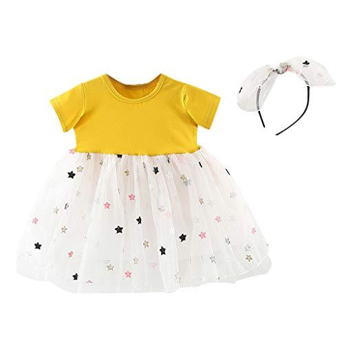 Julhold Peuter Baby Kids Meisjes Mooie Vrije tijd Sterren Tulle Patchwork Prinses Jurken Haarband Outfits Zomer 0-2 Jaar
