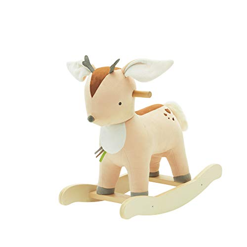 labebe 【New Baby Rocking Horse Plush, Male Fawn Rocker Toy for Child 1-3 Years, Rocking Horse/Fawn Rocking Horse/Deer Rocker/Reindeer Rocking Horse/Riding Horse/Stuffed Animal Rocker (NO Music)