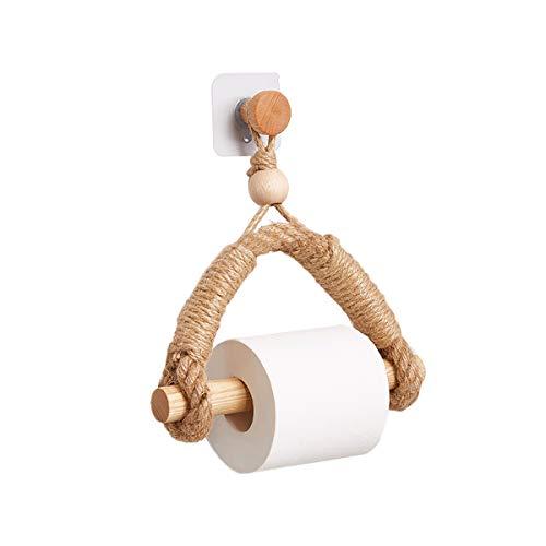 TentHome Toilettenpapierhalter Klopapierhalter Nordischer Kreativer Holz Rollenhalter Landhaus Toilette Papierhalter WC Badezimmer Retro Wandhalterung Seil, Bohren, B