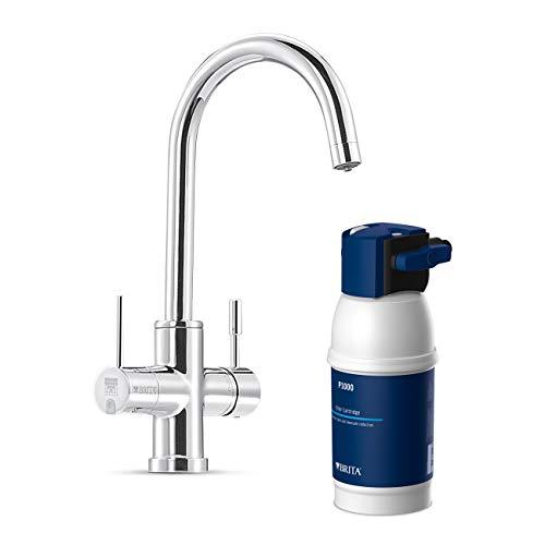BRITA Armatur mit integriertem Wasserfilter WD 3030, 3 Wege Wasserhahn mit Filter zur Reduzierung von Kalk, Chlor und geschmacksstörenden Stoffen im Leitungswasser