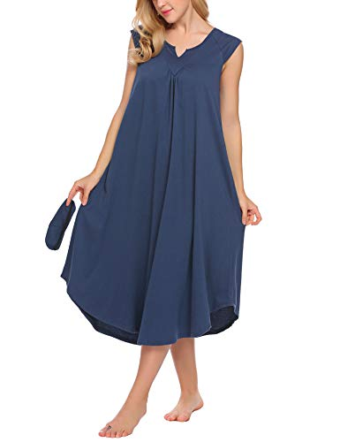 ekouaer sleepwear cotton v neck cap sleeve sleep dress long nightgowns for women Navy Blue