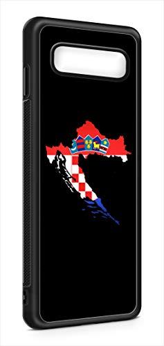 Kompatibel mit Samsung Galaxy S10+ Plus Silikon Handyhülle Flexibles Slim Case Cover Kroatien Fahne Flagge Schwarz